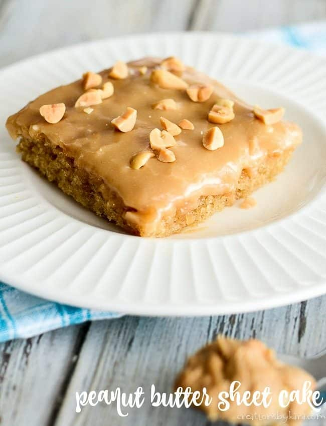 Peanut Butter sheet cake recipe title photo