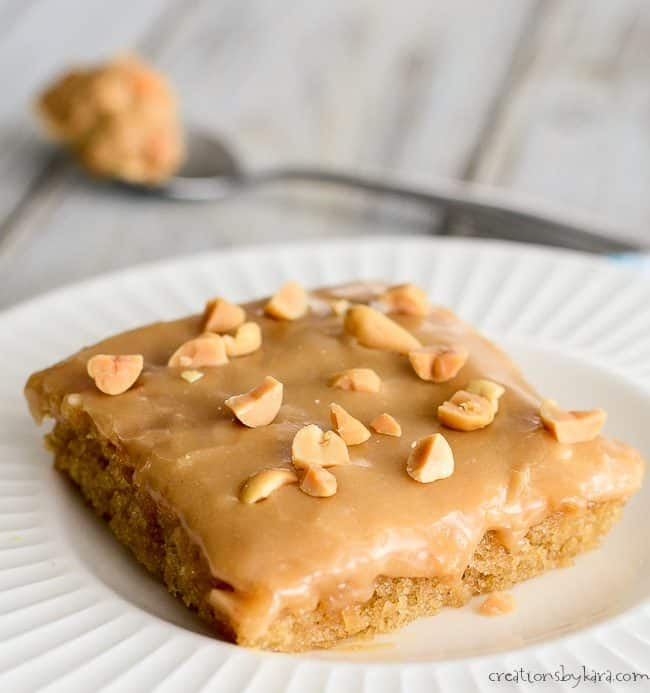 peanut butter sheet cake sprinkled with chopped peanuts