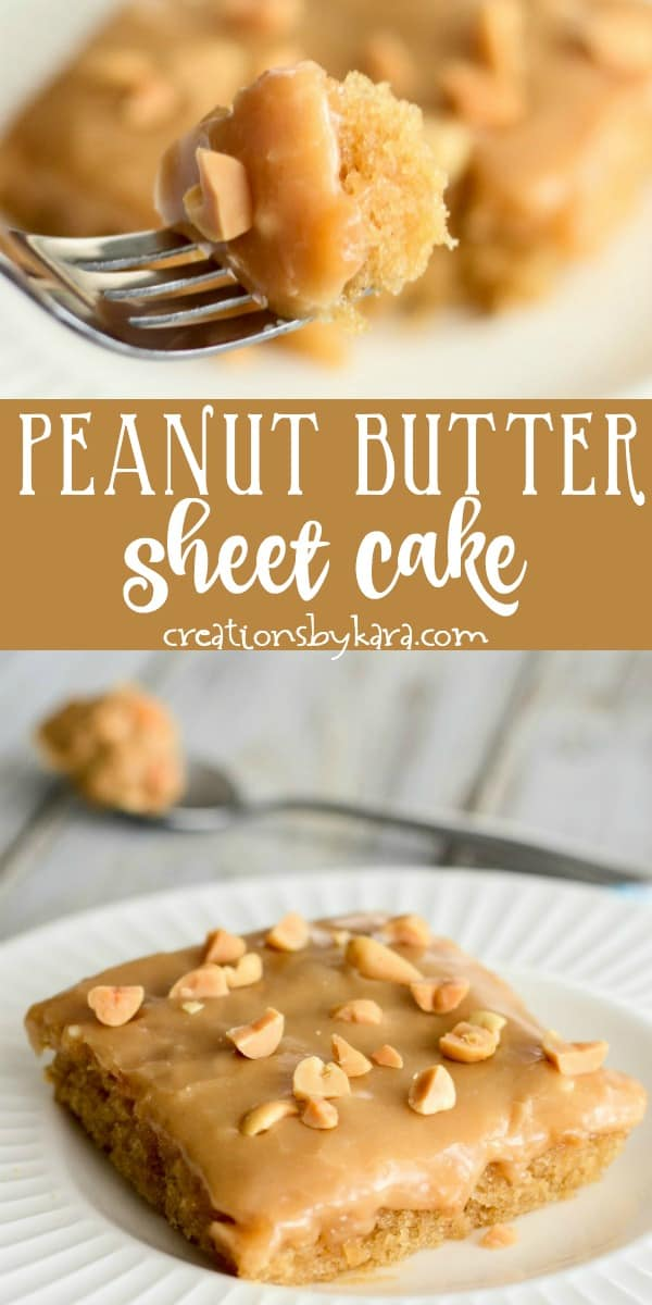 peanut butter sheet cake with peanut butter icing recipe collage