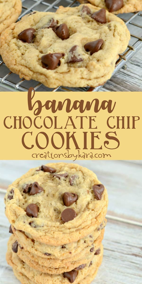 banana chocolate chip cookies recipe collage