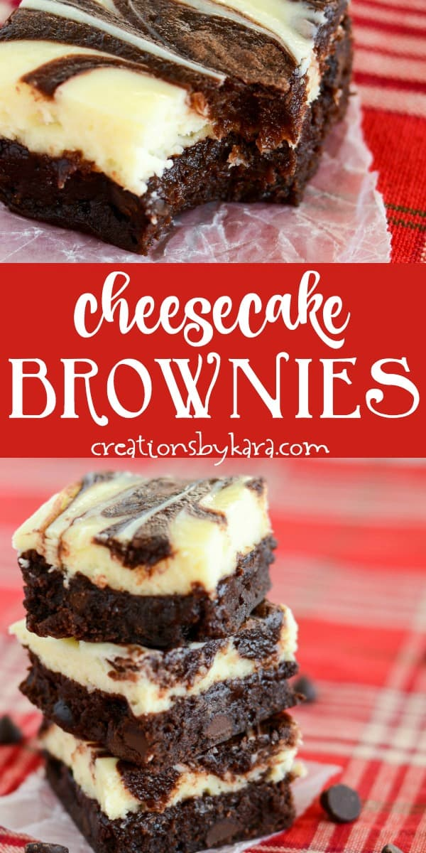 brownies with cream cheese filling recipe collage