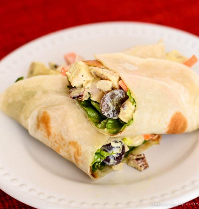chicken salad wrap cut in half