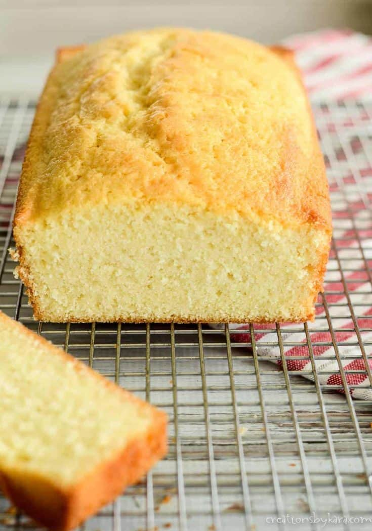 Simple but delicious pound cake made in a loaf pan. Perfect for strawberry shortcake and trifle! #poundcake