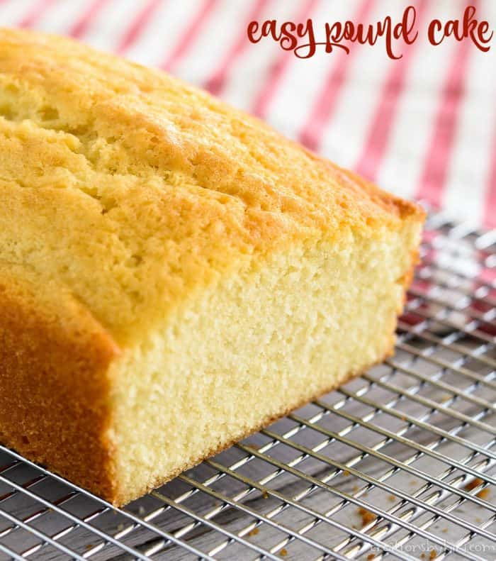 Sliced pound cake on a cooling rack