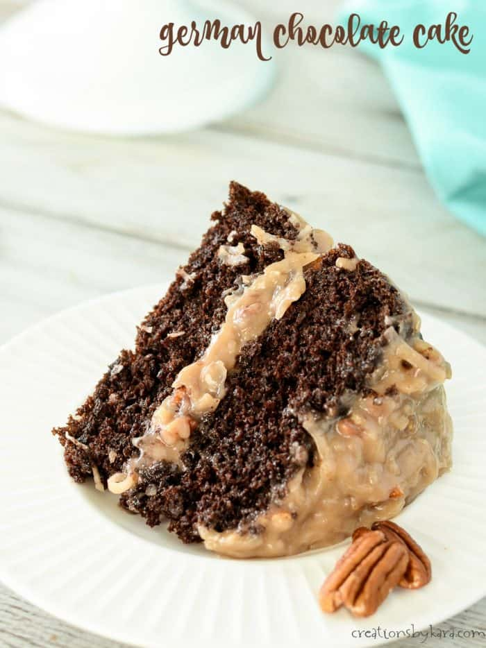 slice of two layer chocolate cake with german chocolate frosting
