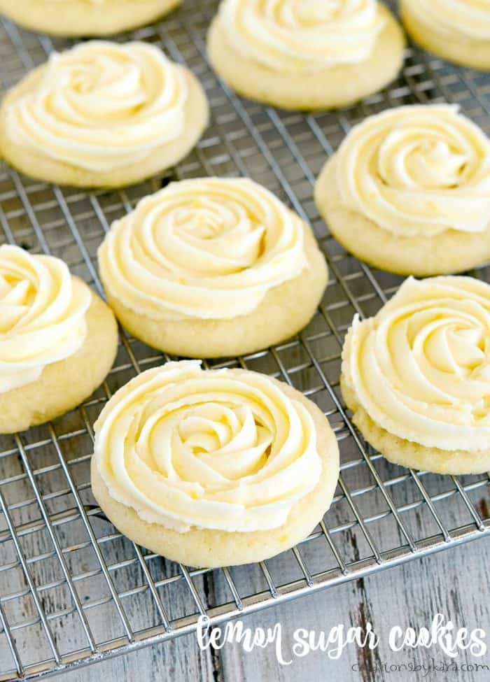 lemon sugar cookies with lemon frosting on a cooling rack
