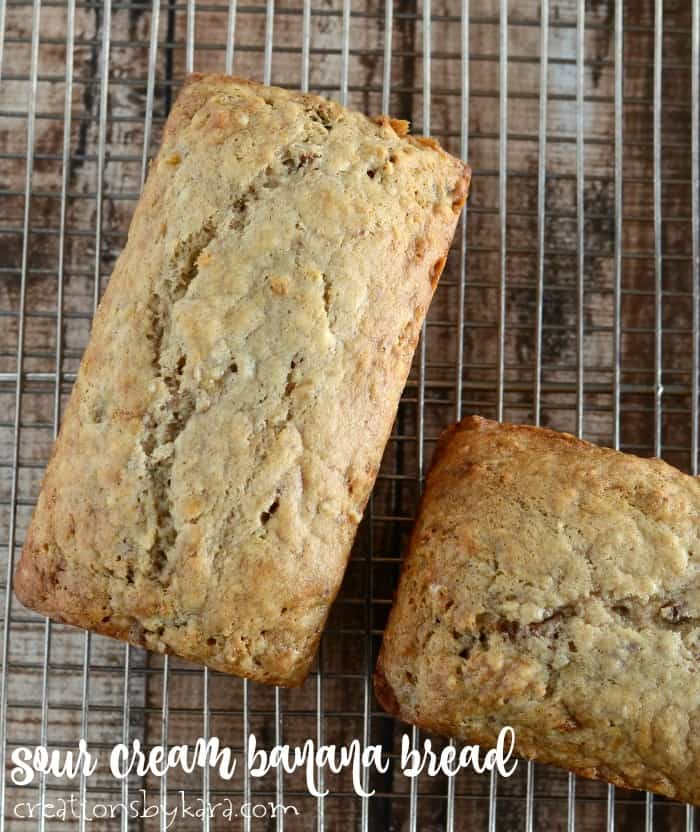 loves of banana bread on a cooling rack