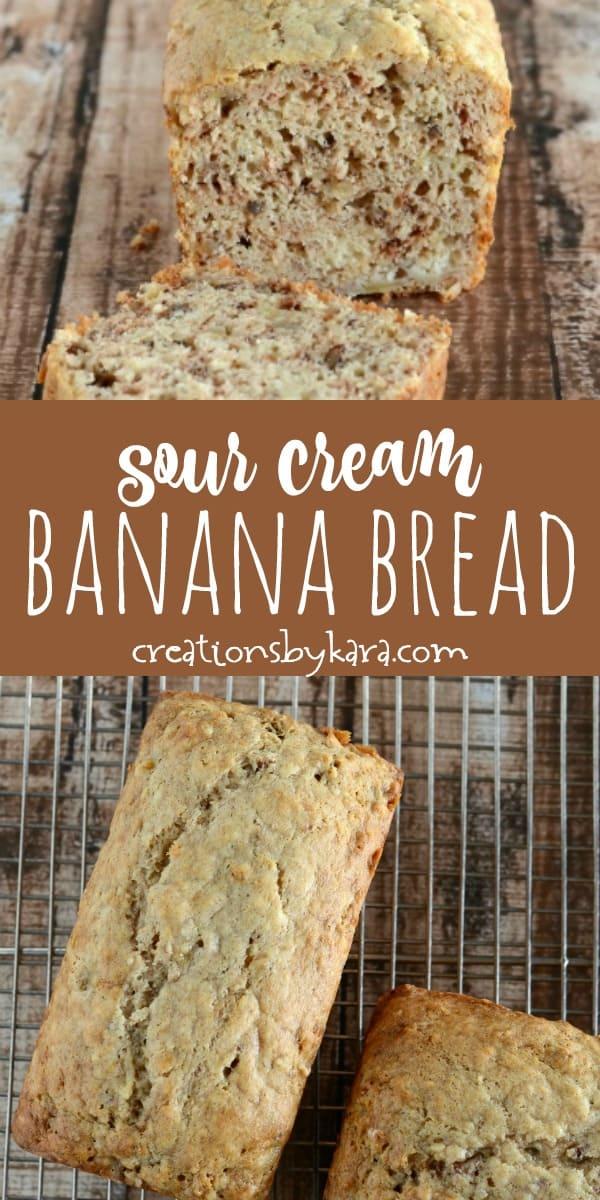 sour cream banana bread recipe collage