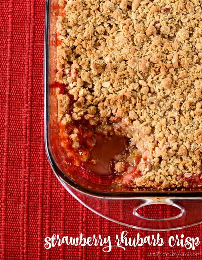 pan of easy strawberry rhubarb crisp