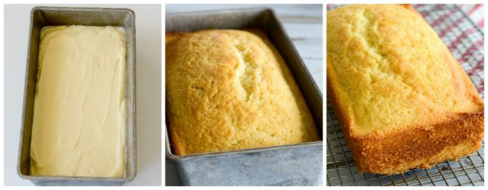 Pound cake made in a loaf pan