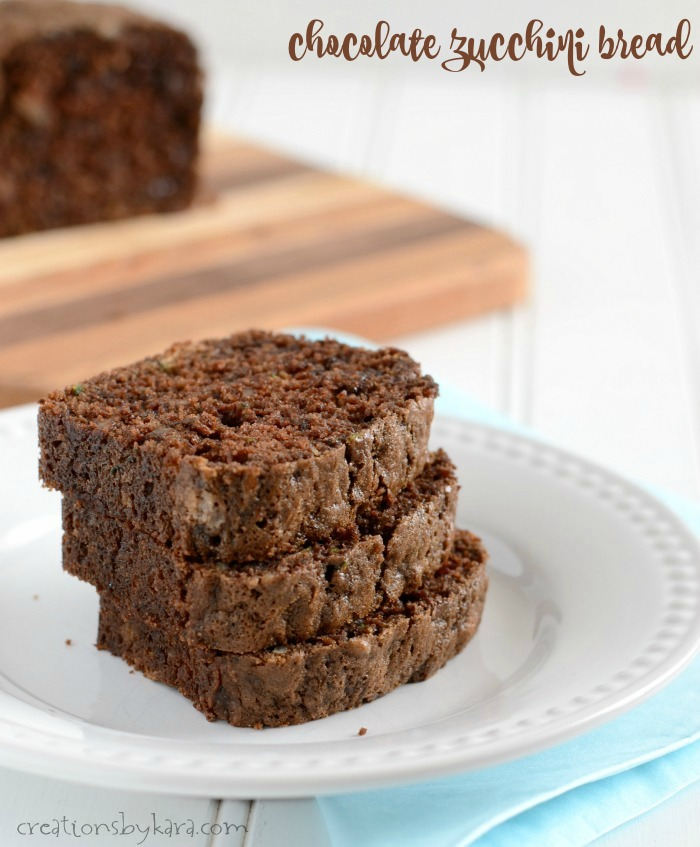 slices of chocolate zucchini bread on a plate
