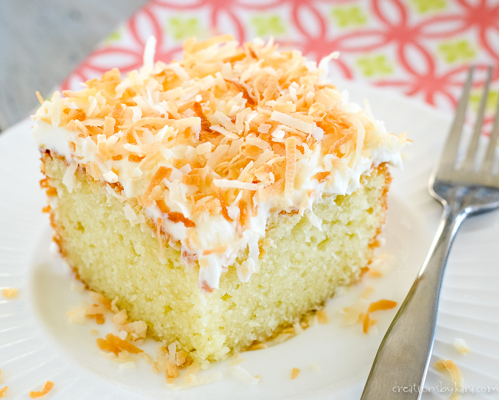 close up of toasted coconut on top of coconut frosting