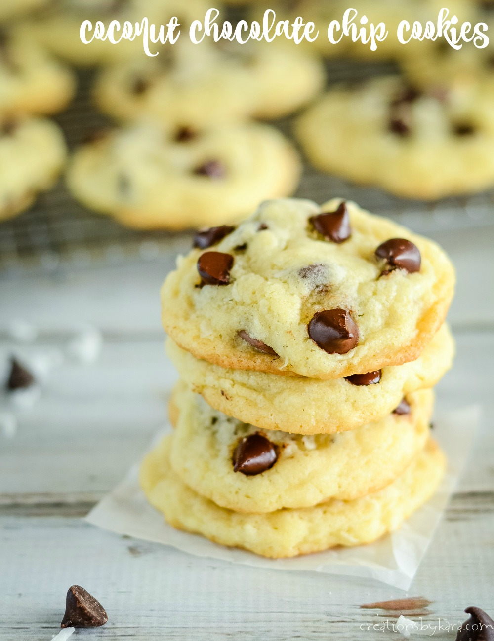 stack of Coconut Chocolate Chip Cookies