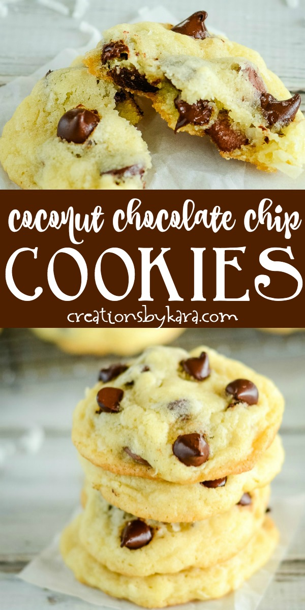 coconut chocolate chip cookies recipe photo collage