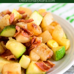 zucchini with bacon and potatoes pinterest pin