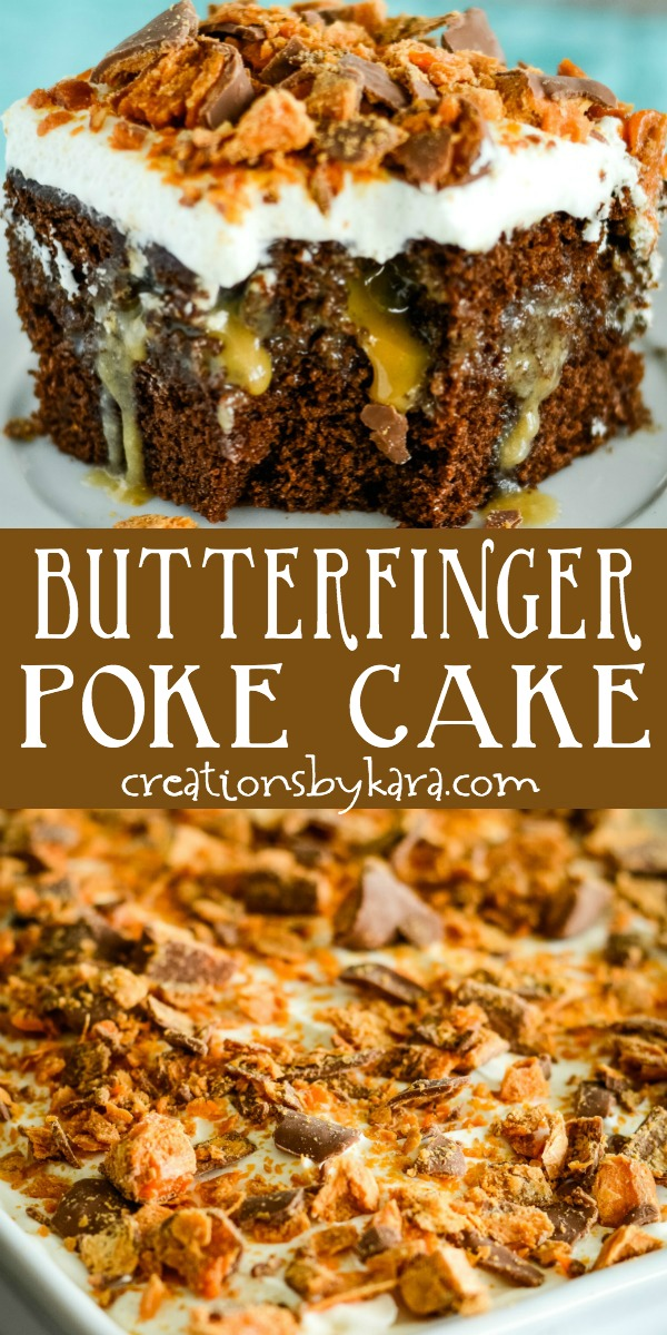 chocolate butterfinger cake recipe collage