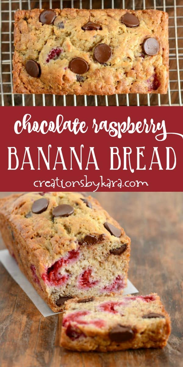 chocolate raspberry banana bread recipe collage