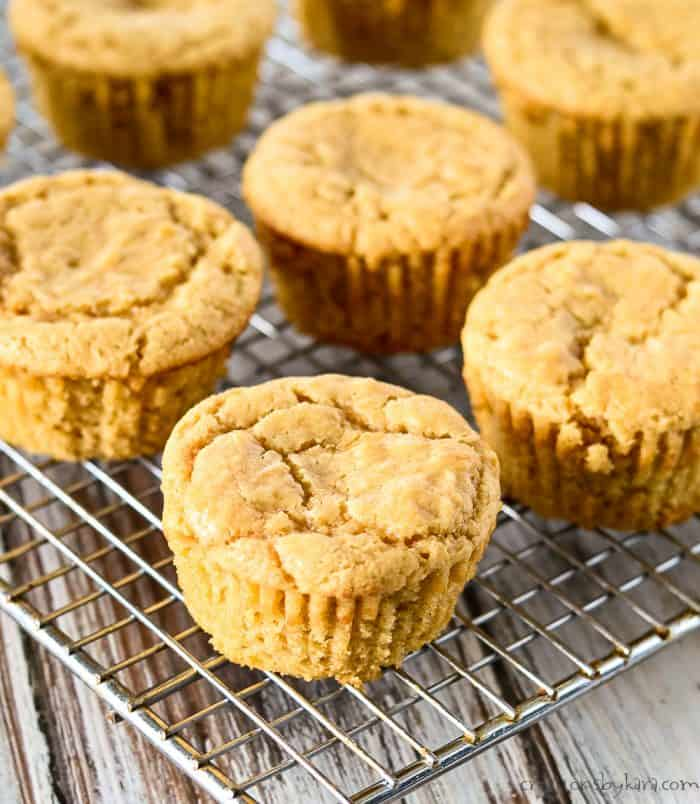 peanut butter cupcakes on a cooling rack