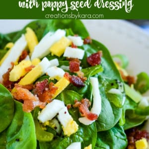 Bacon Spinach Salad with poppy seed dressing Pinterest Pin
