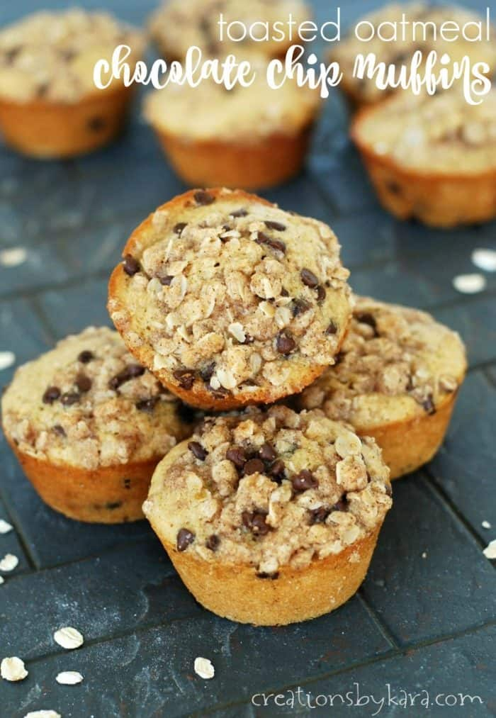 stack of Chocolate Chip Oatmeal Muffins