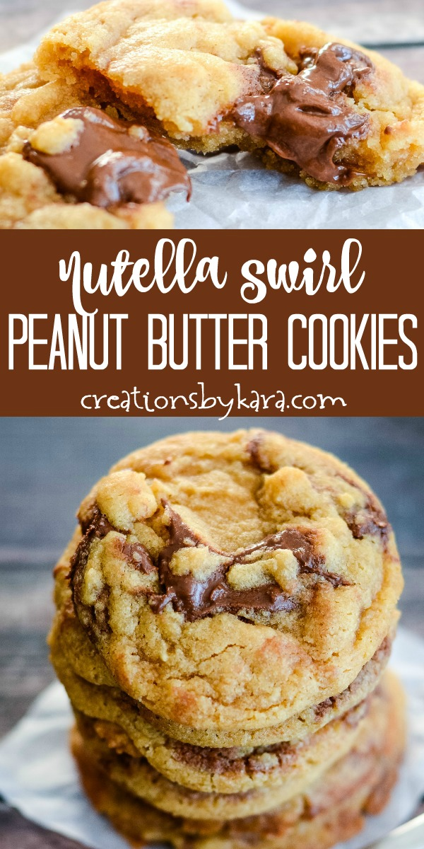 nutella swirl peanut butter cookies recipe collage