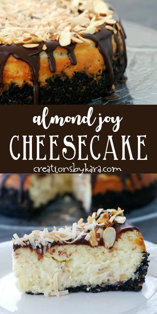 almond joy cheesecake recipe collage