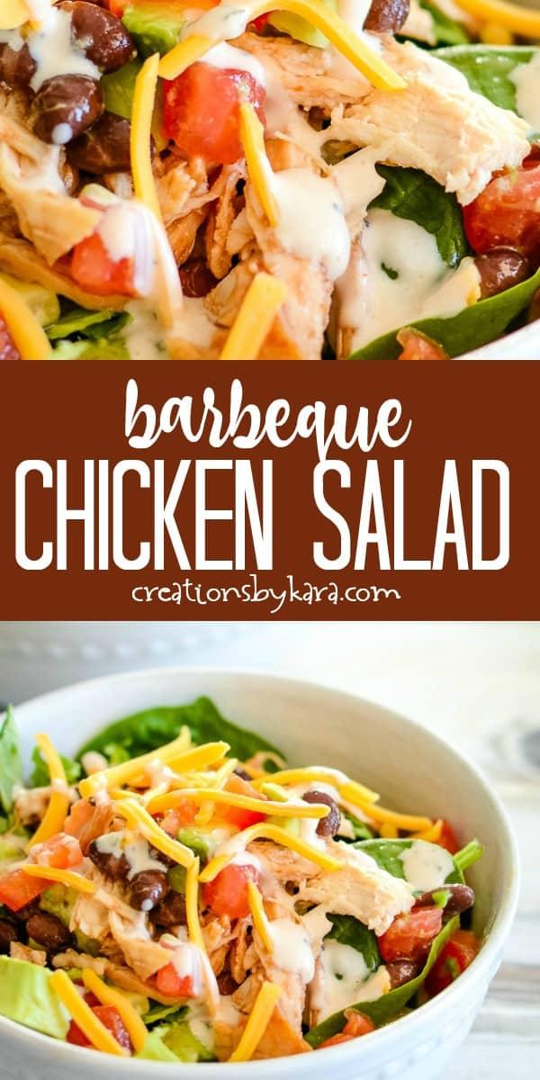 bbq chicken salad recipe collage