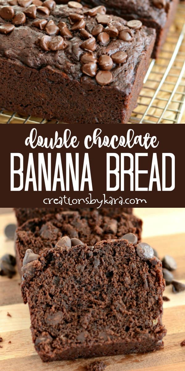 double chocolate banana bread recipe collage