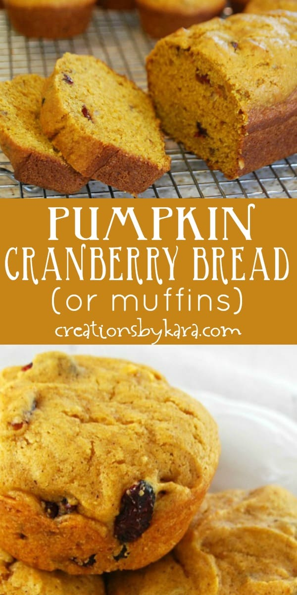 pumpkin cranberry bread recipe collage
