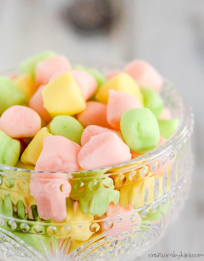 bowl of pastel butter mints