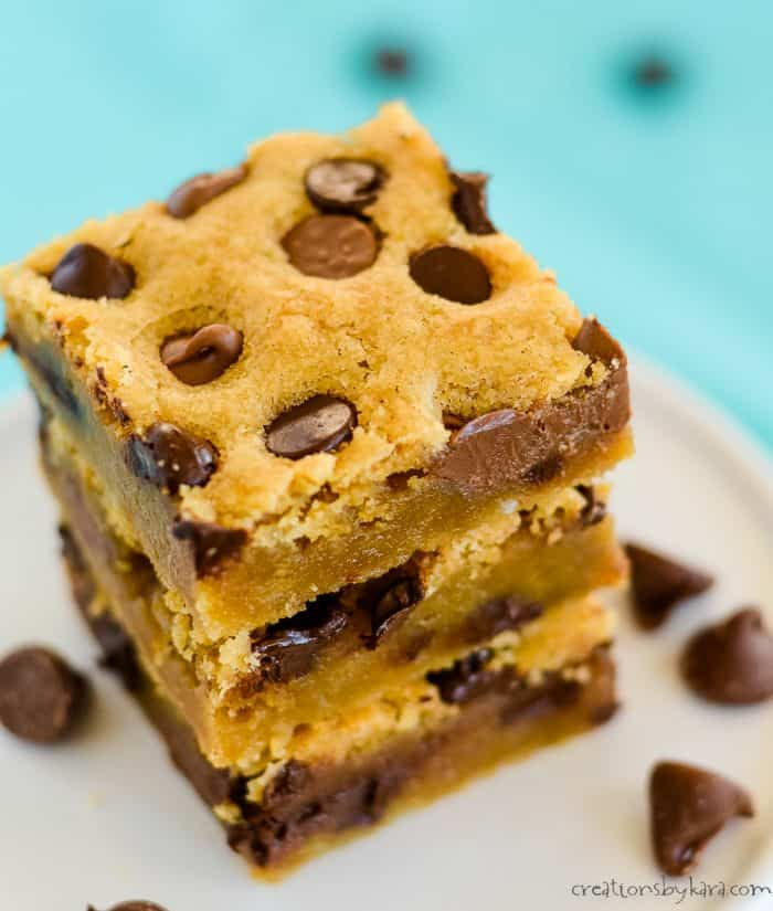 stack of chocolate chip cookie bars on a plate