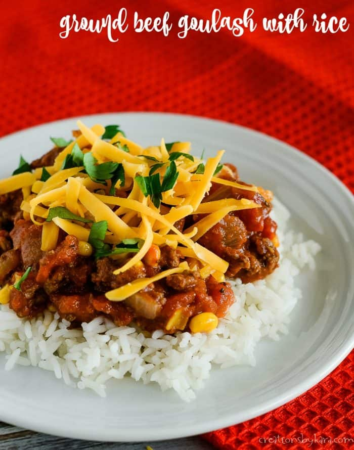 ground beef goulash with rice title photo