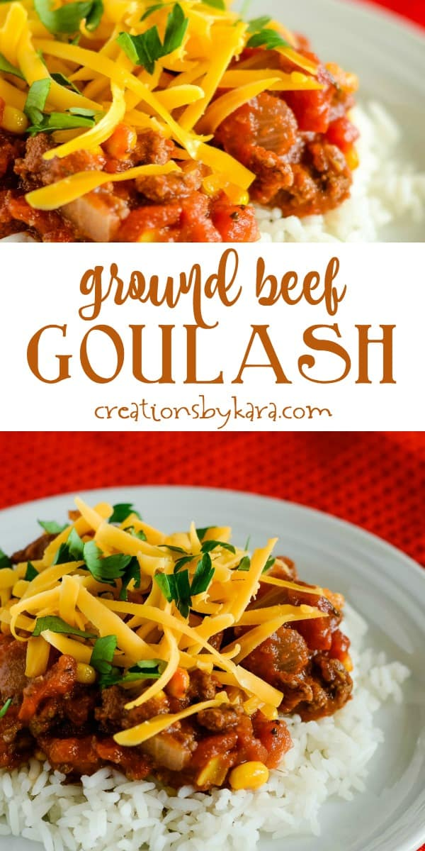 ground beef goulash with rice recipe collage