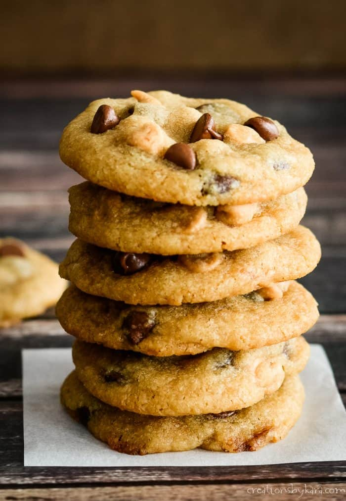 stack of cookies with peanut butter chips and chocolate chips in them