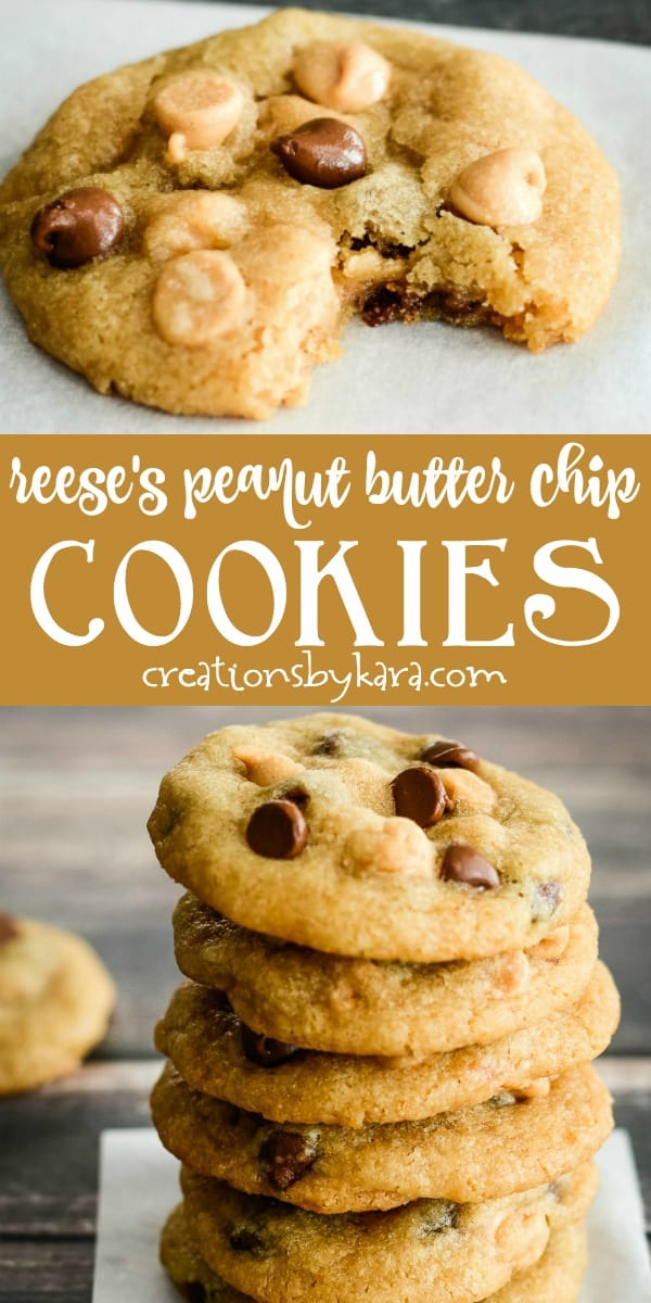 Reeses peanut butter chip cookies recipe collage