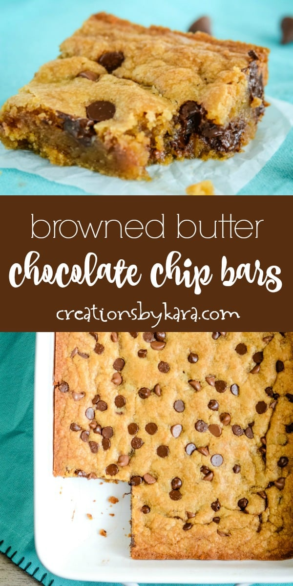 browned butter chocolate chip cookie bars recipe collage