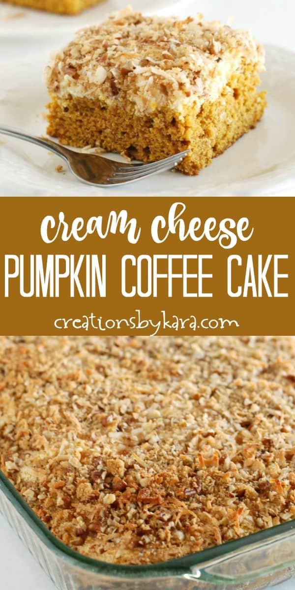 cream cheese pumpkin coffee cake recipe collage