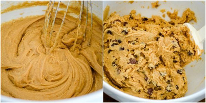 bowl of dough for chocolate chip cookie bars