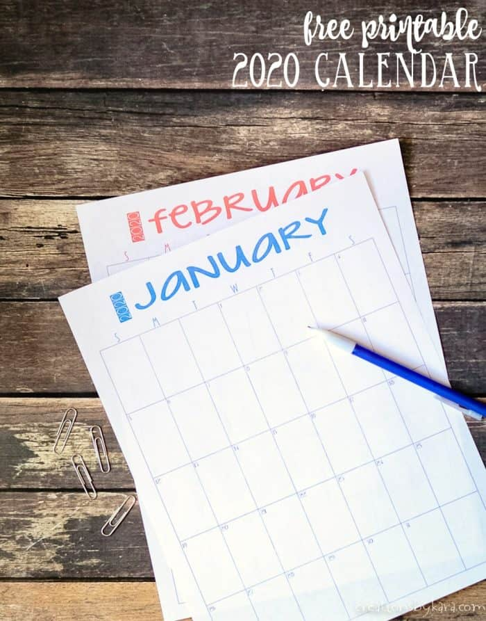january and february 2020 calendar pages