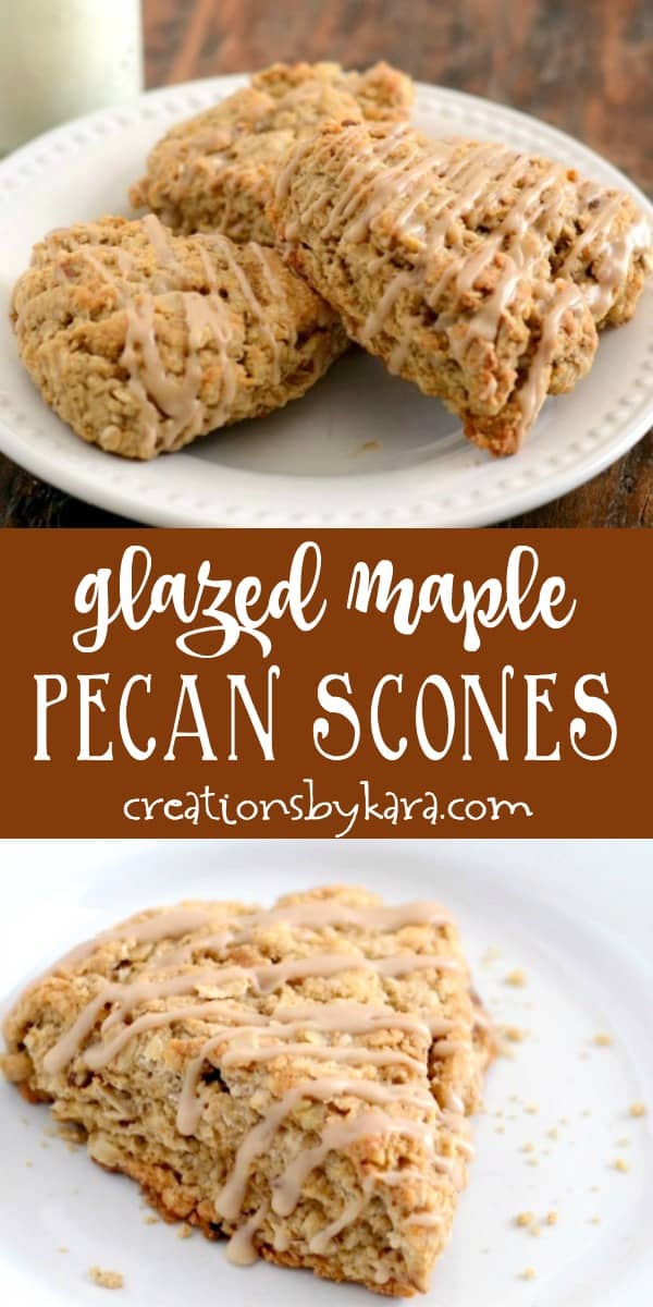 glazed maple pecan scones recipe collage