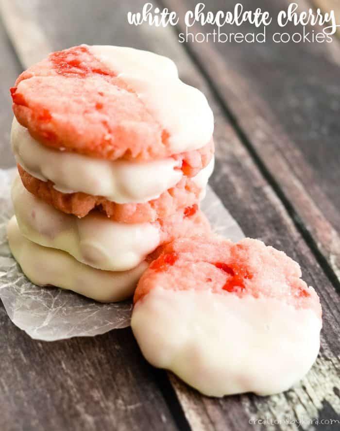 white chocolate cherry shortbread cookies title photo