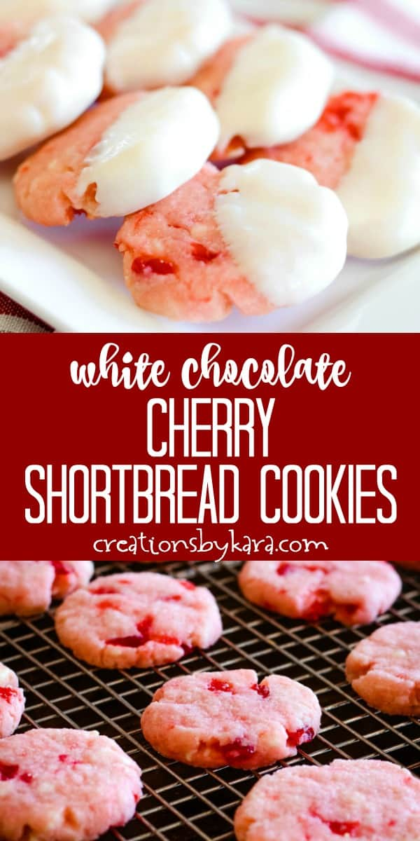 white chocolate cherry almond shortbread cookies recipe collage