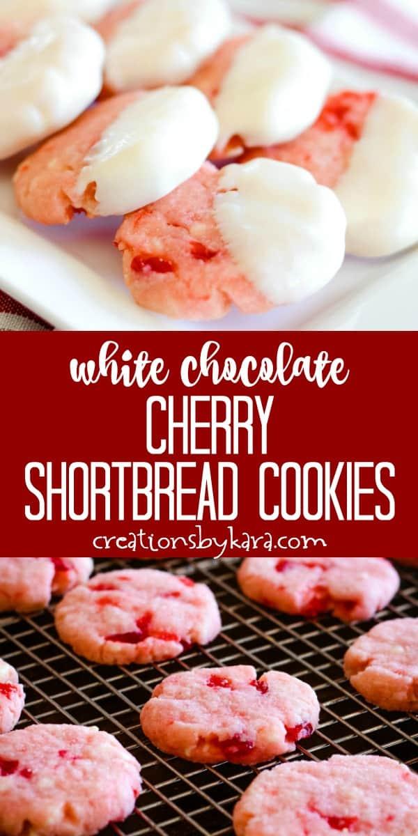white chocolate cherry almond shortbread cookies recipe collage