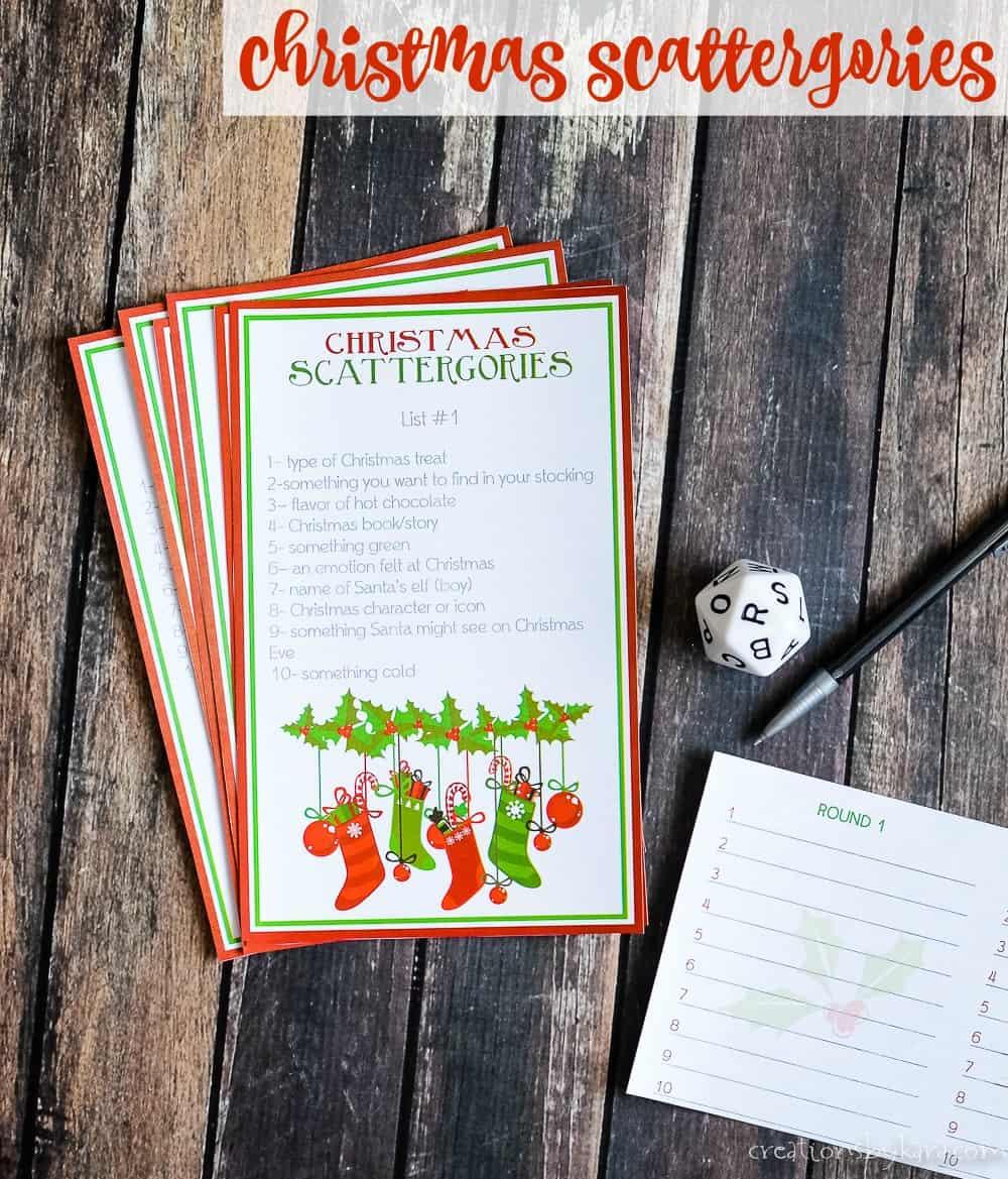 Christmas Scattergories Free Printable Game Creations By Kara