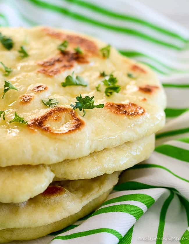 stack of naan with butter and garlic
