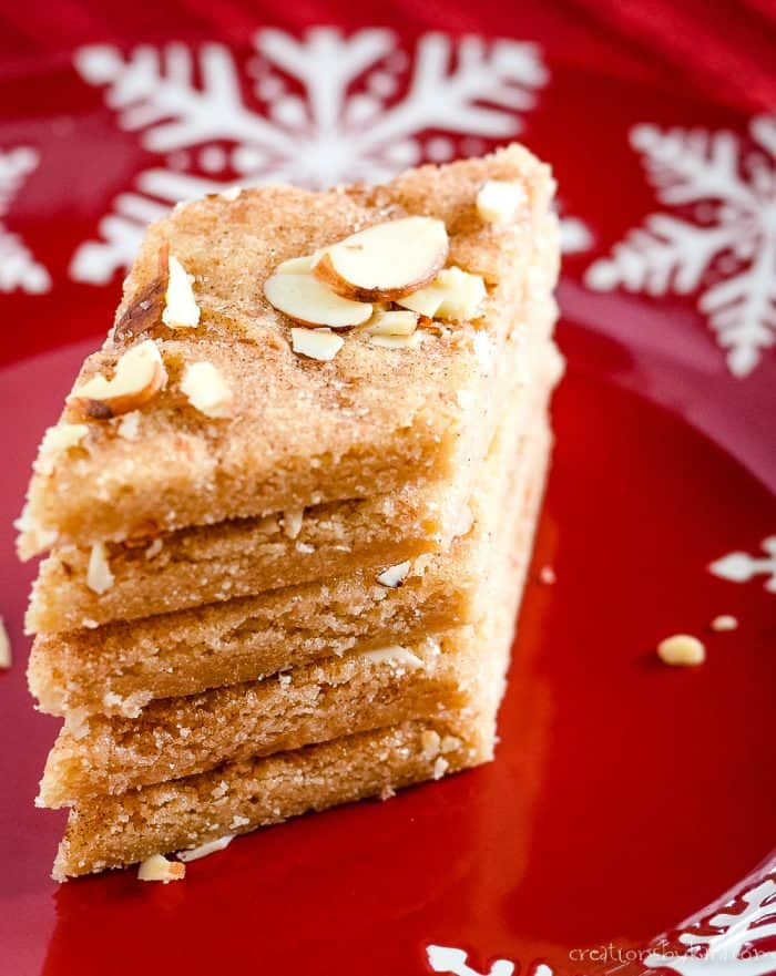 stack of diamond shaped cinnamon sugar bars
