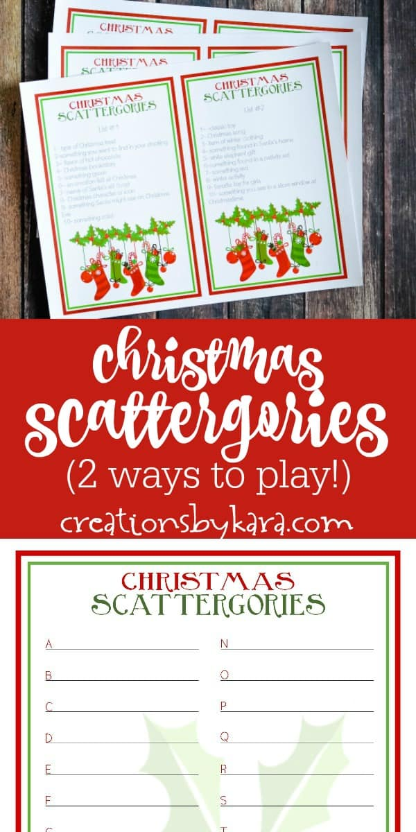 christmas themed scattergories game printables collage