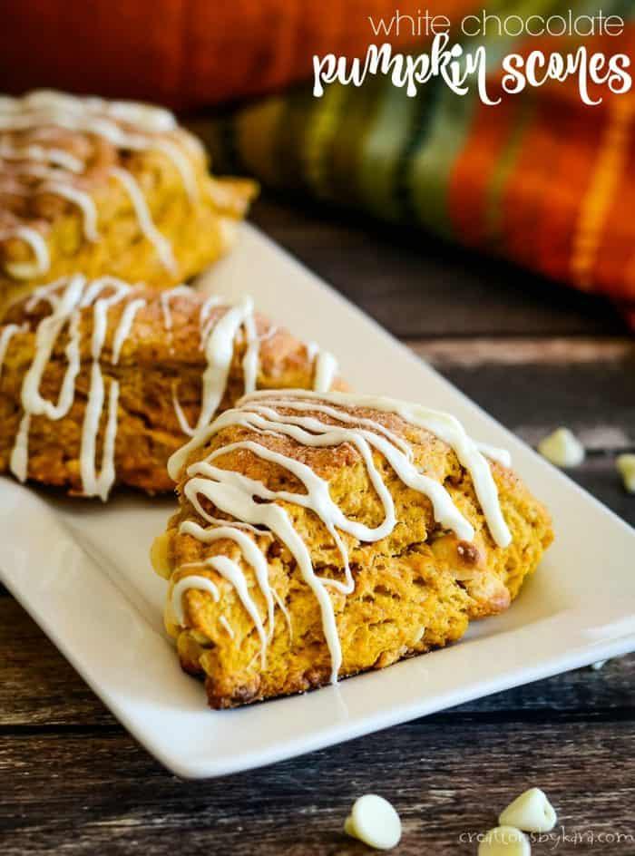white chocolate pumpkin scones recipe title photo