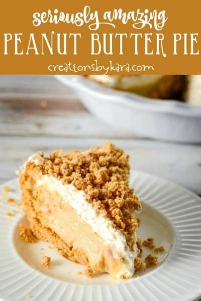 slice of triple peanut butter pie on a plate