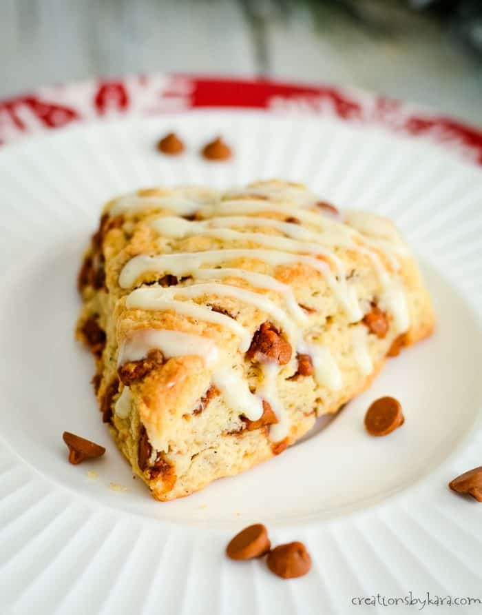 close up of scone with cinnamon chips and eggnog glaze